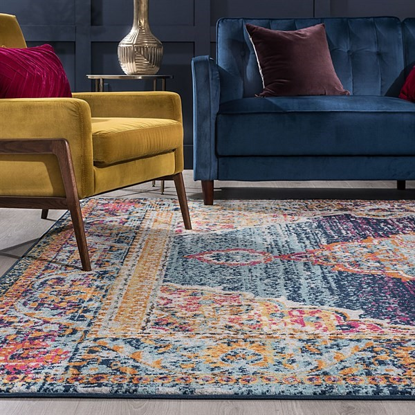 Blue, Pink, Orange (JSM4001) Bohemian Area Rug