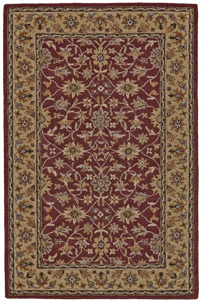 Red, Light Gold  Area Rug