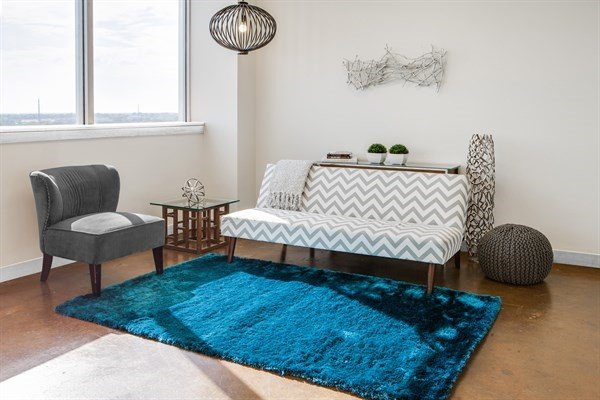Teal Solid Area Rug