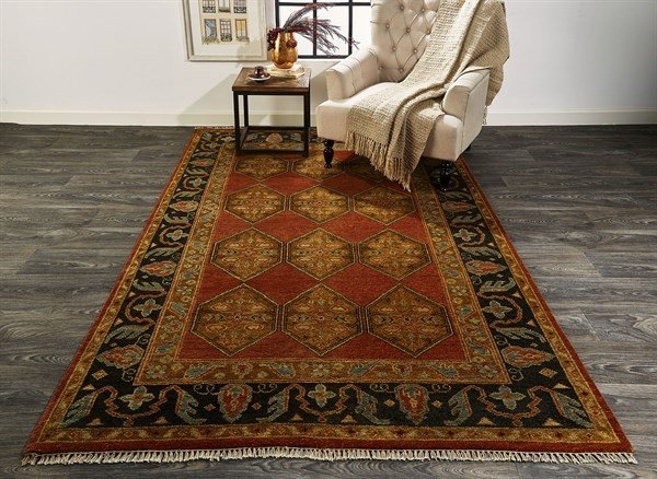 Rust, Charcoal Traditional / Oriental Area Rug