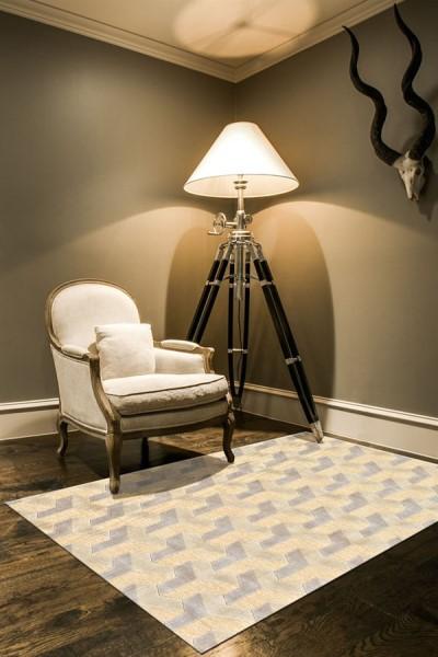 Cream, Silver Contemporary / Modern Area Rug