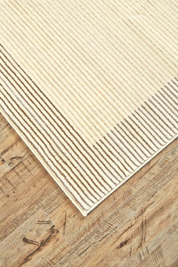 Cream, Gray Bordered Area Rug