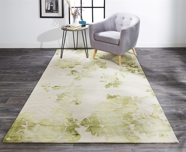 Avocado Floral / Botanical Area Rug