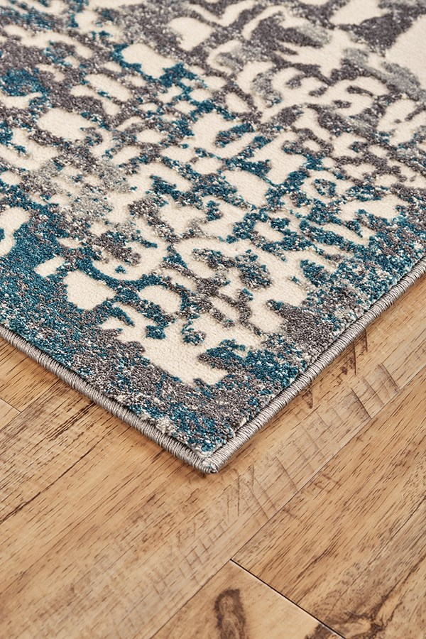 Grey, Turquoise Transitional Area Rug