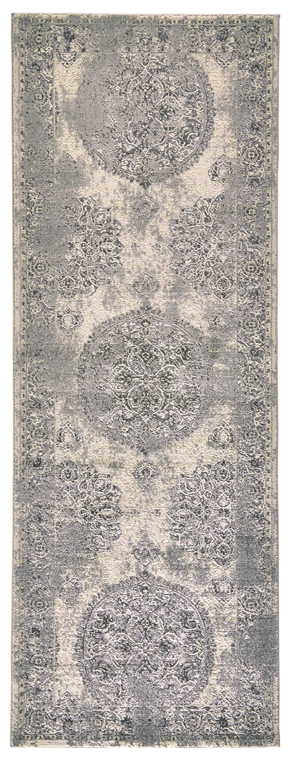 Silver, Beige Traditional / Oriental Area Rug