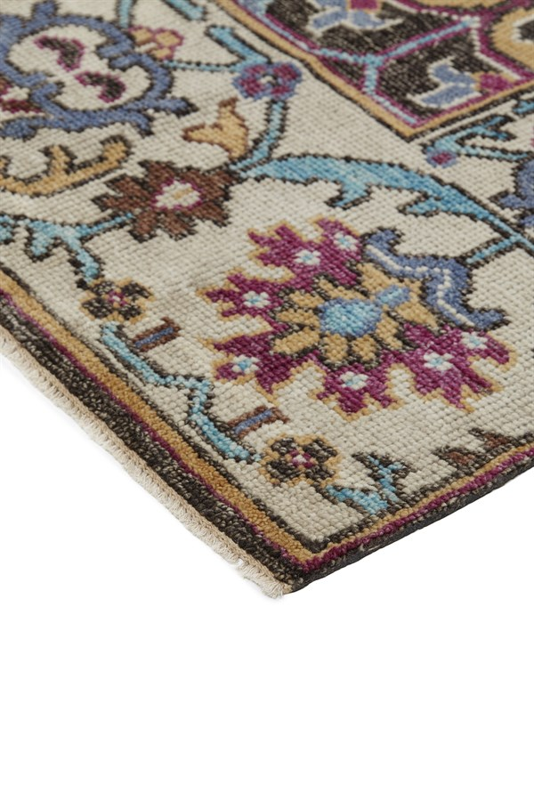 Taupe, Brown, Blue Floral / Botanical Area Rug