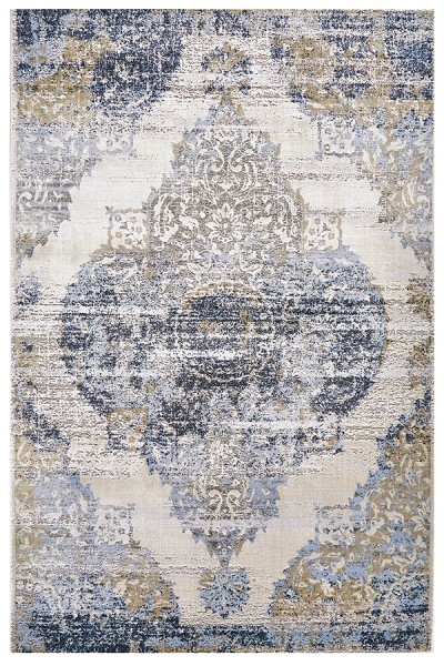 White, Light Blue Traditional / Oriental Area Rug