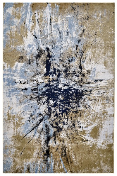 Gold, Blue Abstract Area Rug