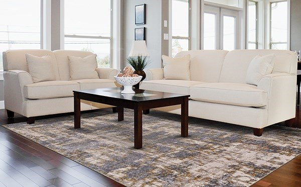 Gold, Sterling Abstract Area Rug