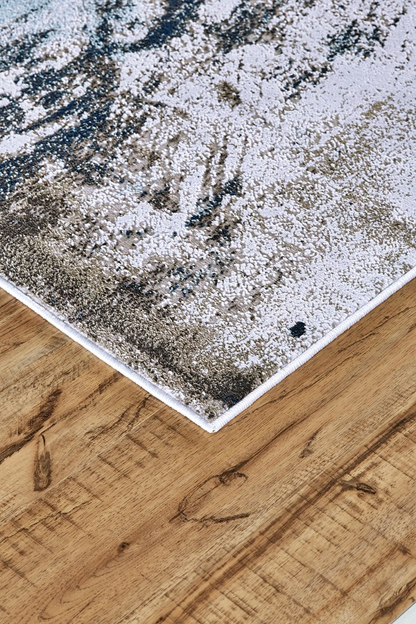 White, Gray Abstract Area Rug