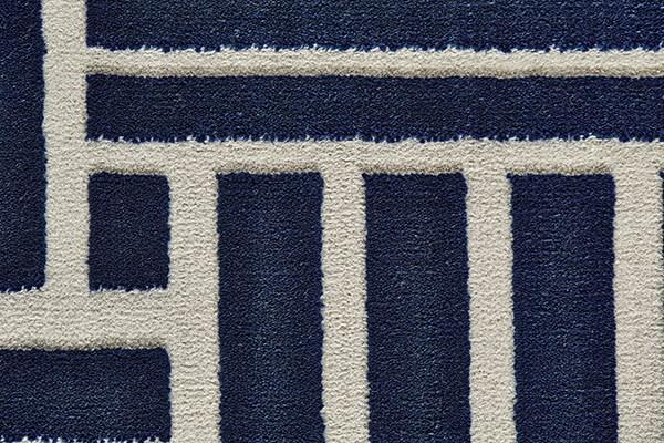 Navy, Gray Abstract Area Rug