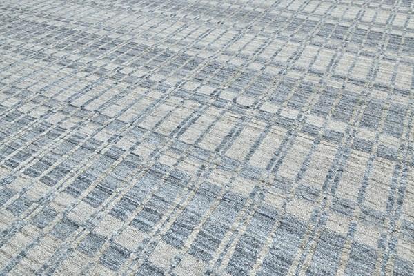 Blue, Silver Striped Area Rug