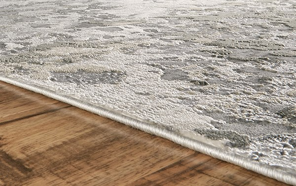 Silver, Grey Abstract Area Rug