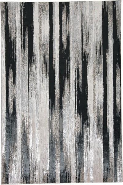 Black, Silver Contemporary / Modern Area Rug