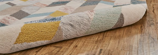 Grey, Gold Abstract Area Rug