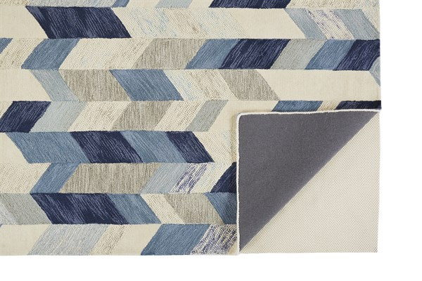 Blue, Ivory Abstract Area Rug