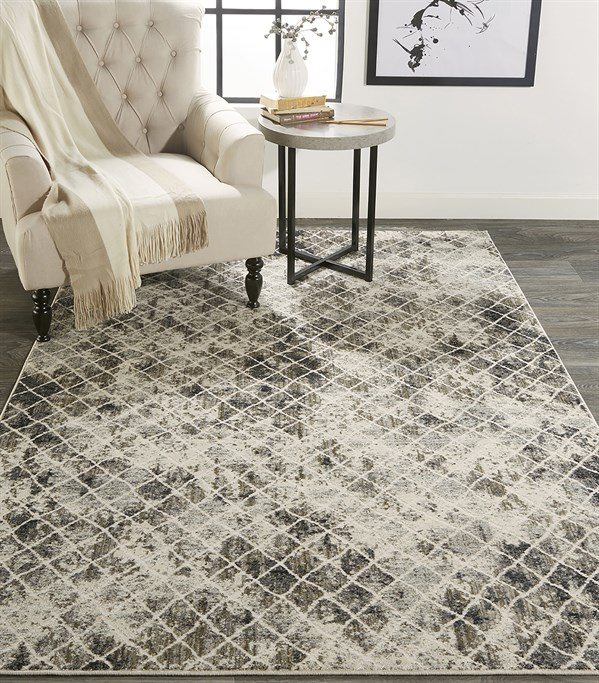 Sand, Ivory Abstract Area Rug