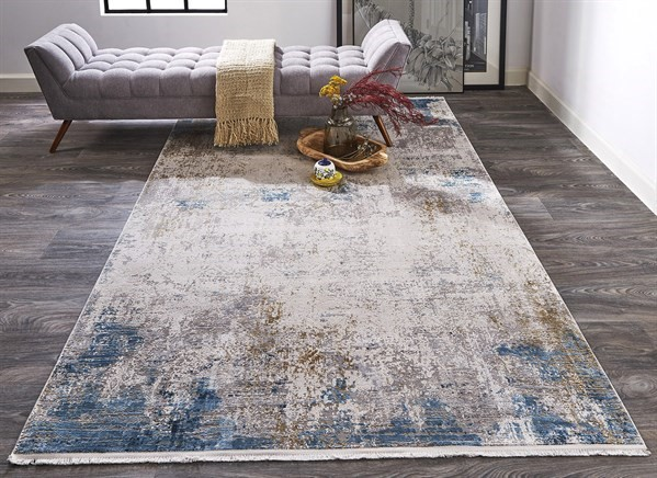 Ivory, Blue Abstract Area Rug