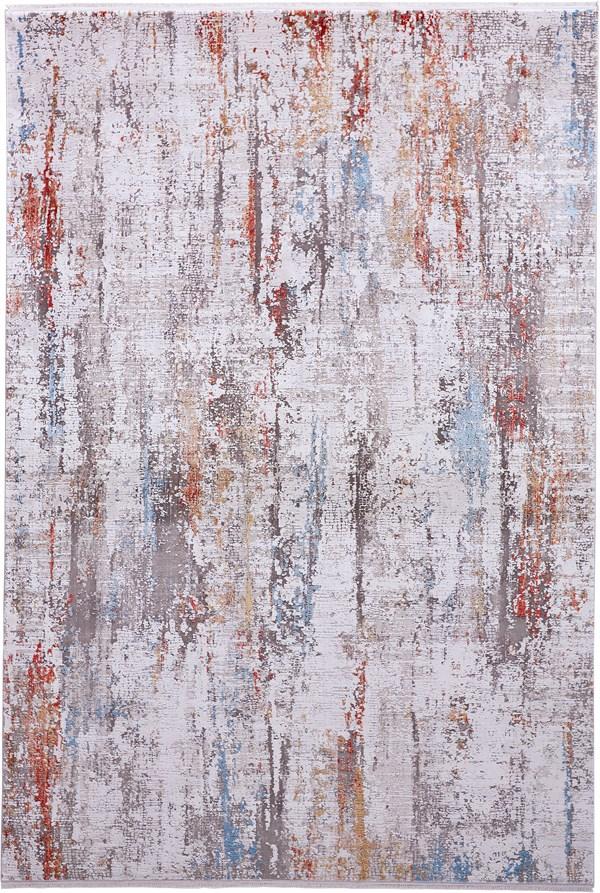 Ivory, Grey, Brick Abstract Area Rug