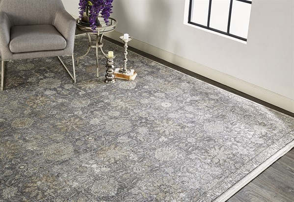 Charcoal, Sand Vintage / Overdyed Area Rug