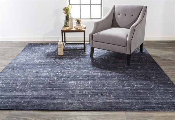 Navy Abstract Area Rug