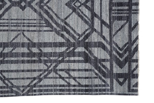 Grey, Blue Geometric Area Rug