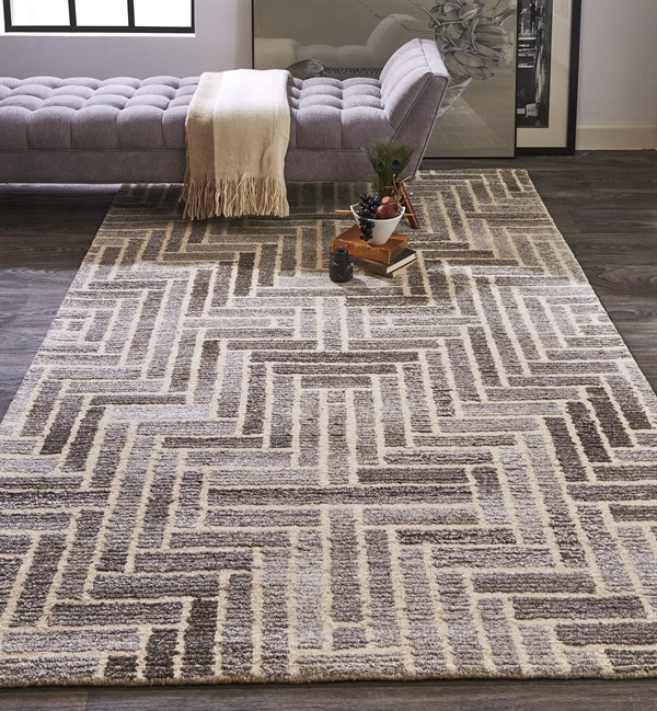 Taupe, Natural Transitional Area Rug