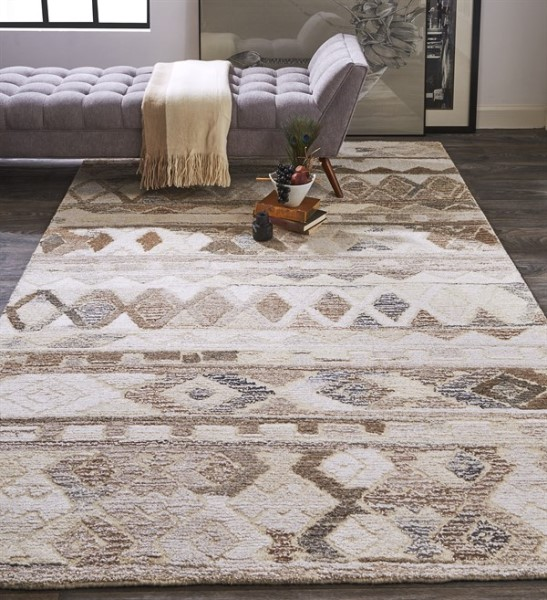 Brown, Natural Moroccan Area Rug