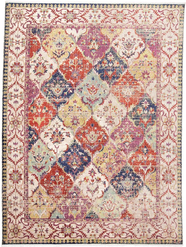 Red, Ivory Vintage / Overdyed Area Rug