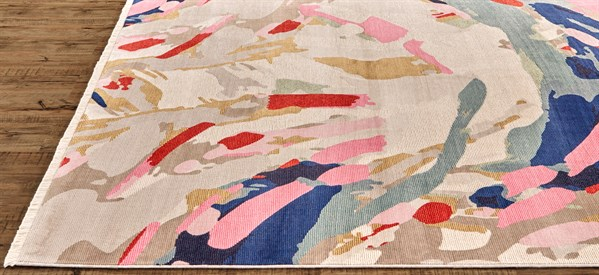 Pink, Taupe, Blue Abstract Area Rug