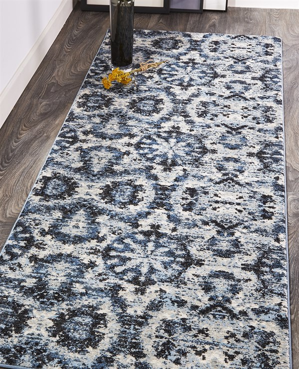 Charcoal, Blue Transitional Area Rug