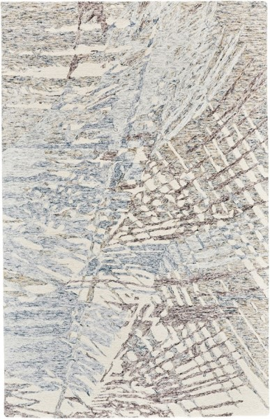 Ivory, Blue, Brown Abstract Area Rug