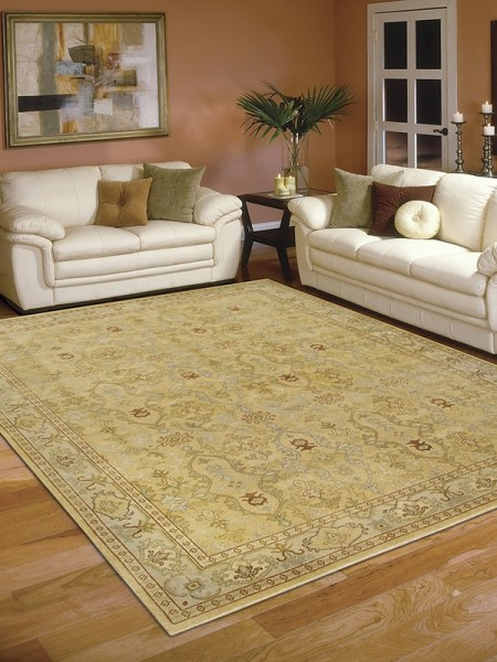 Gold, Beige Traditional / Oriental Area Rug