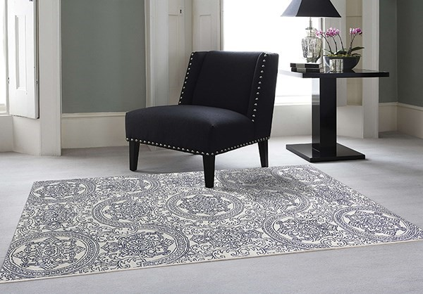 Navy Blue Transitional Area Rug