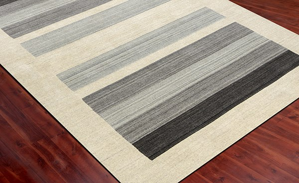 Ivory, Gray Striped Area Rug