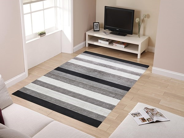Charcoal Striped Area Rug