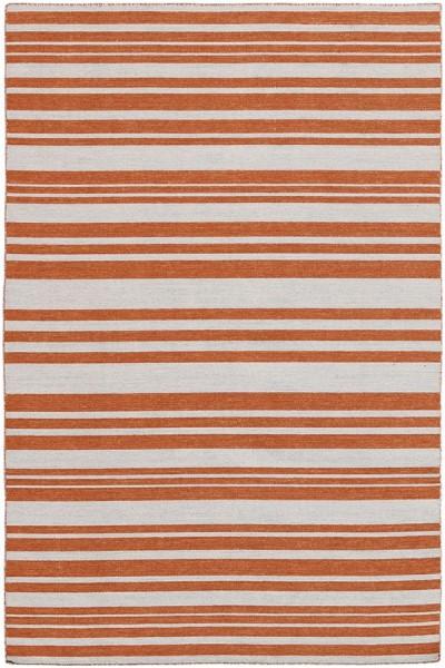 Orange, Ivory (ELA-2) Striped Area Rug