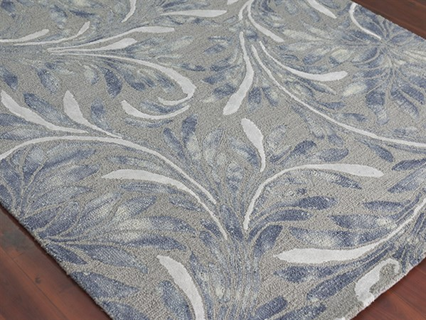 Silver, Ivory Floral / Botanical Area Rug