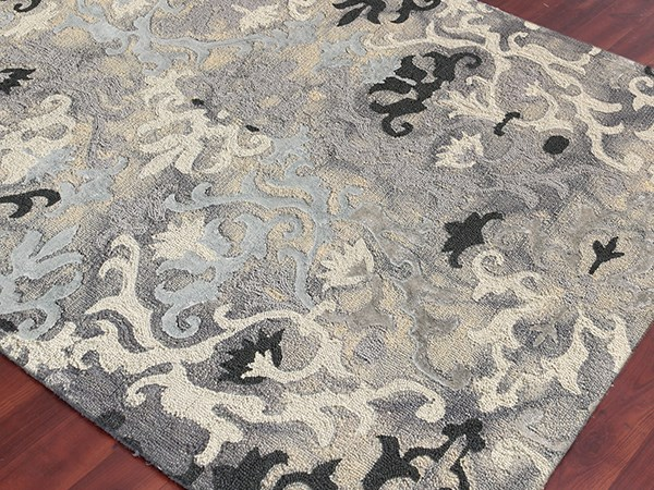 Gray Damask Area Rug