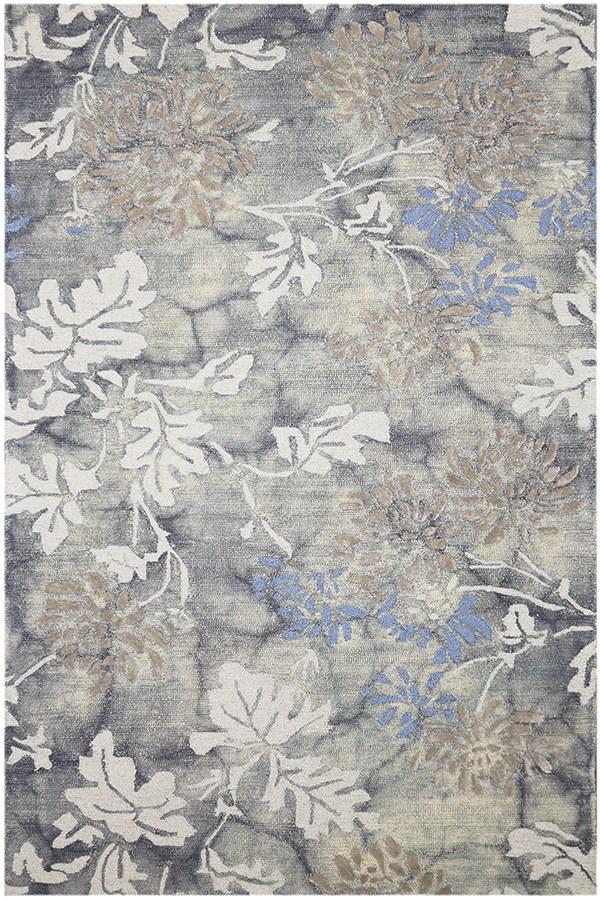 Steel Gray Floral / Botanical Area Rug