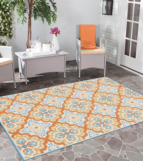 Orange, Blue, Ivory Moroccan Area Rug
