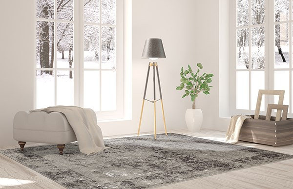 Brown, Grey, Silver Vintage / Overdyed Area Rug