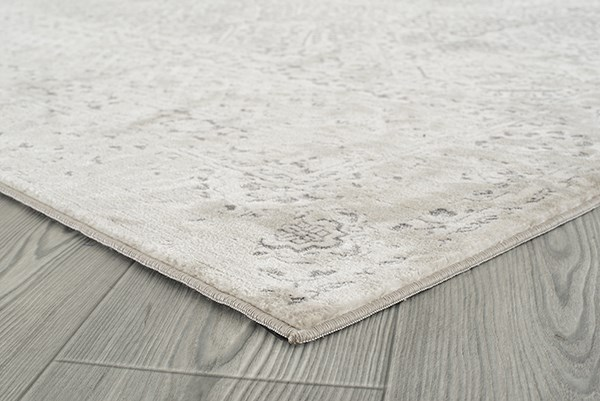 Silver, Ivory, Grey Bohemian Area Rug