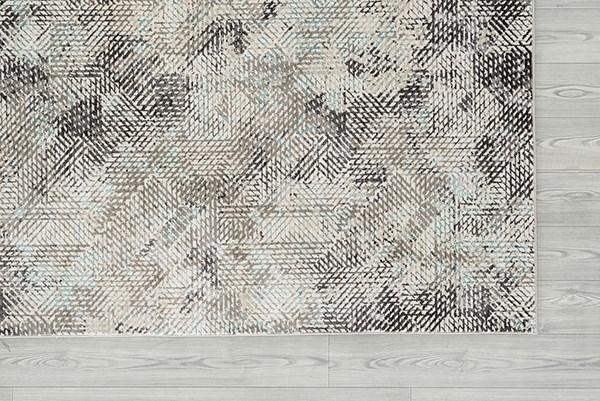 Aqua, Grey, Ivory Contemporary / Modern Area Rug