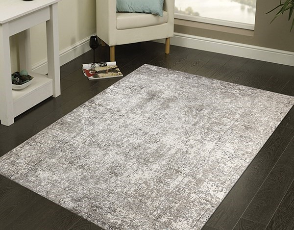 Light Grey, Beige, Silver Vintage / Overdyed Area Rug