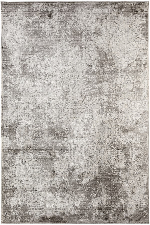 Tan, Ivory, Silver Vintage / Overdyed Area Rug