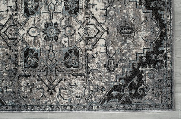 Ivory, Steel Gray, Charcoal Traditional / Oriental Area Rug