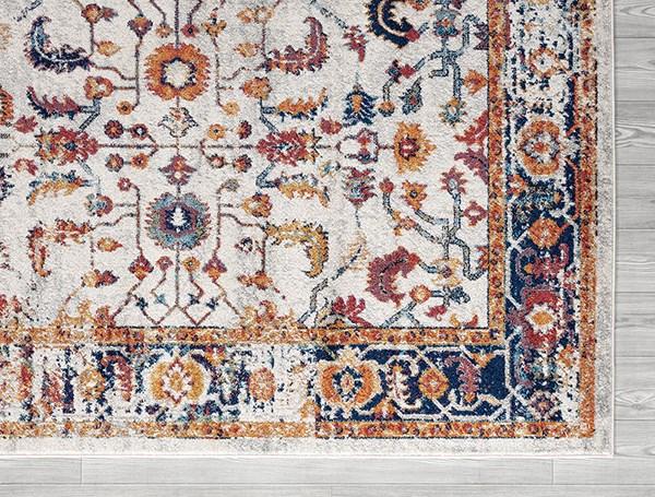 Ivory, Blue, Orange Vintage / Overdyed Area Rug