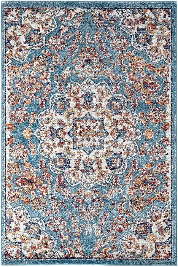 Blue, Orange, Ivory Traditional / Oriental Area Rug