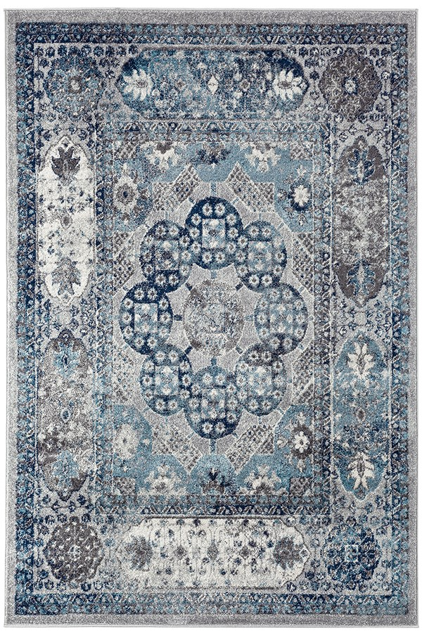 Grey, Blue, Ivory Traditional / Oriental Area Rug